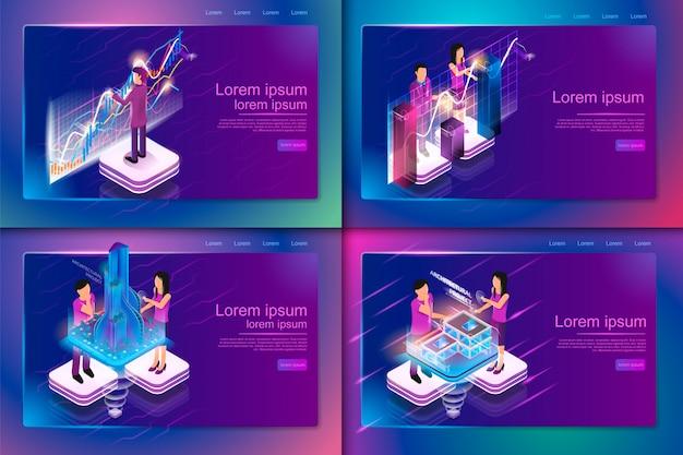 Illustrazione isometrica realtà virtuale nel mondo degli affari