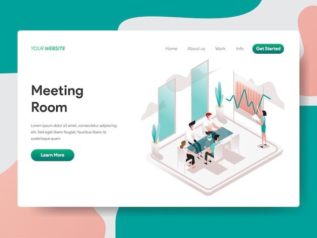 Illustrazione isometrica sala riunioni. pagina di destinazione