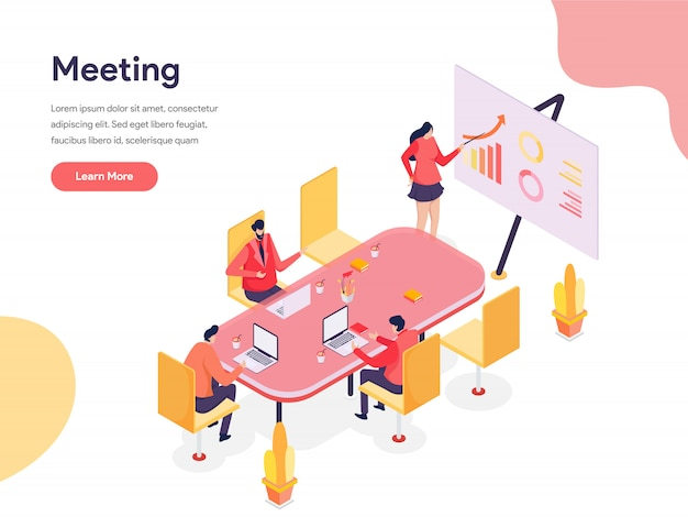 Illustrazione isometrica sala riunioni