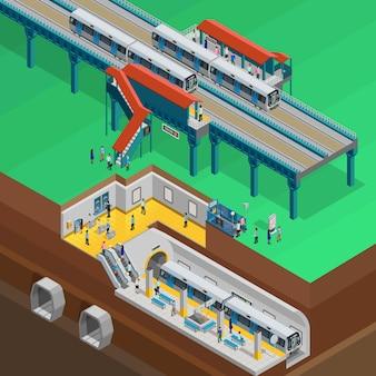 Illustrazione isometrica sotterranea