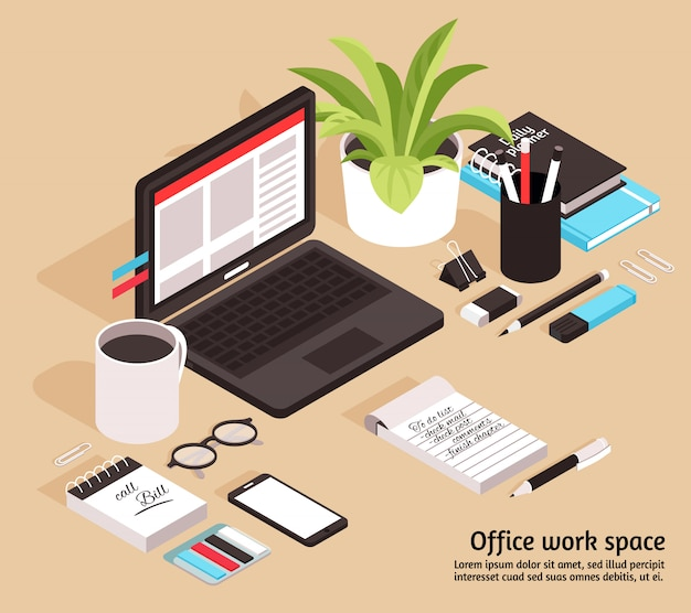 Illustrazione isometrica stazionaria di affari