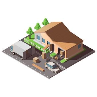 Illustrazione isometrica sul tema del trasferimento in una nuova casa.