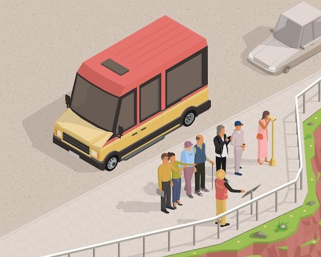 Illustrazione isometrica sul tema del turismo con autobus, turisti e guida turistica.