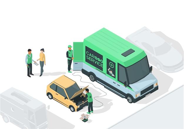 Illustrazione isometrica sul tema di riparazione auto con auto rotta, camion di servizio, meccanici e client.