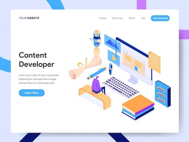 Illustrazione isometrica sviluppatore di contenuti per la pagina web