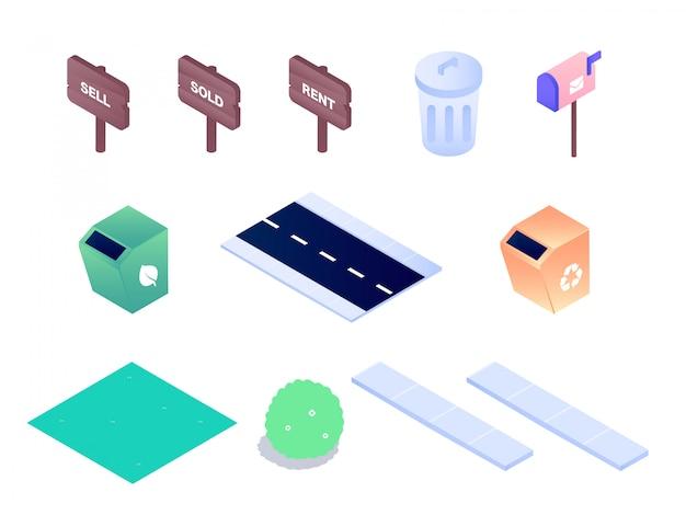 Illustrazione isometrica verde di progettazione di vettore del segno della cassetta delle lettere della pattumiera dell'iarda del giardino