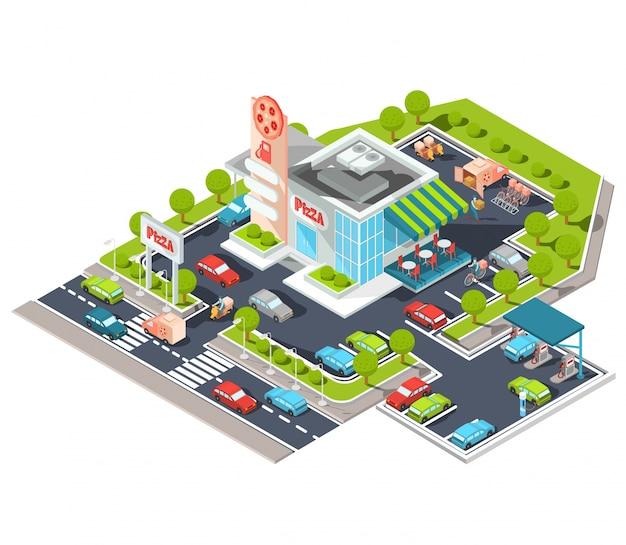 Illustrazione isometrica vettoriale di un moderno ristorante italiano fast food con parcheggio e stazione di benzina.