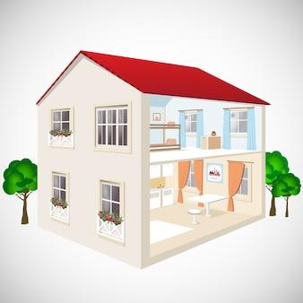 Illustrazione isometrica web di casa