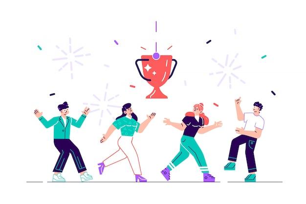 Illustrazione. la gente sale sul podio al primo, secondo e terzo posto. premio per il miglior punteggio. illustrazione di stile moderno design piatto per pagina web, carte, poster, social media.