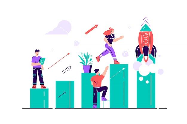Illustrazione, le persone corrono verso il loro obiettivo su una colonna di colonne, aumentano la motivazione, il modo per raggiungere l'obiettivo, razzo. illustrazione piana di stile di progettazione moderna per la pagina web