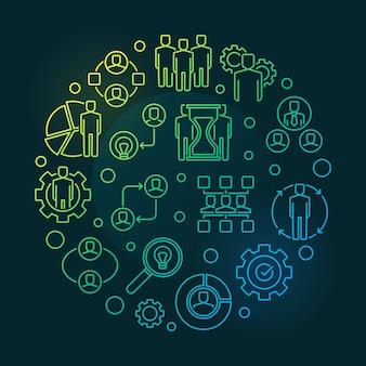 Illustrazione lineare colorata rotonda di associazioni di affari