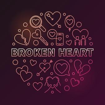 Illustrazione lineare colorata rotonda di vettore del cuore rotto