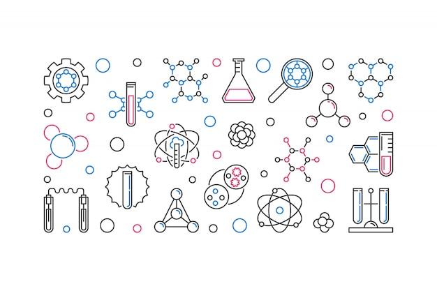 Illustrazione lineare dell'icona di concetto di biochimica