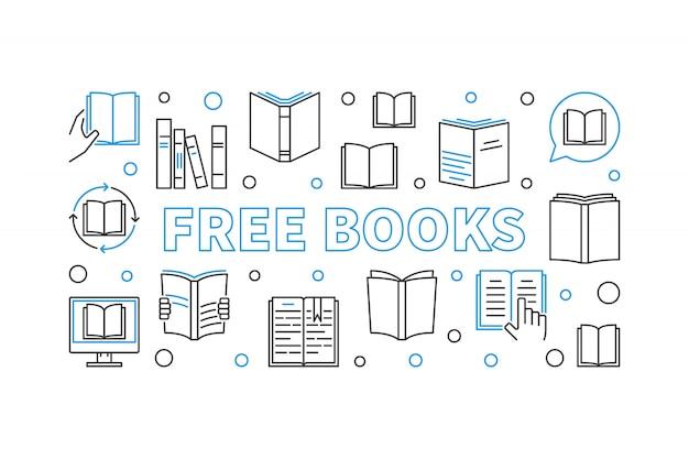 Illustrazione lineare di concetto di libri gratis con elementi