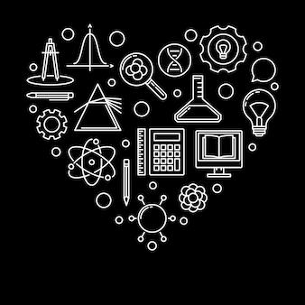 Illustrazione lineare di vettore del cuore della scuola. i love school banner