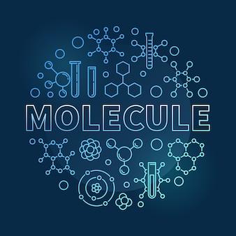 Illustrazione lineare rotonda blu dell'icona della molecola