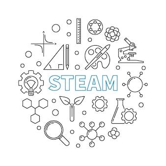 Illustrazione lineare rotonda di concetto di vettore di vapore