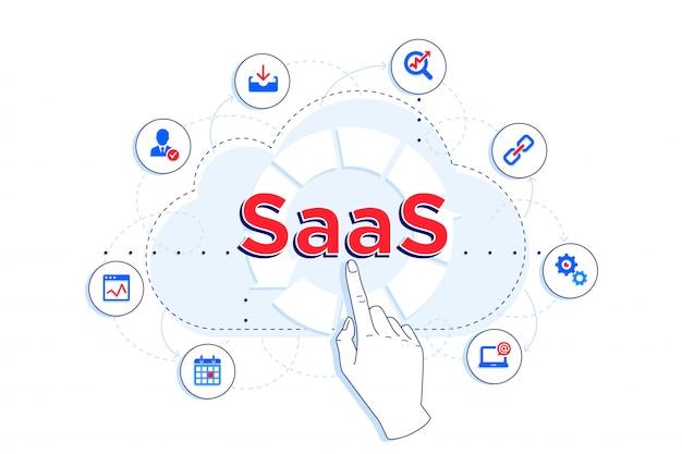 Illustrazione lineare saas e ipaas. cliente che utilizza saas per scopi diversi: archiviazione, statistiche, cloud computing.
