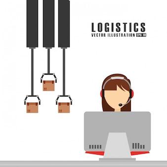 Illustrazione logistica di spedizione