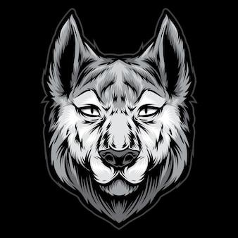 Illustrazione logo testa di husky