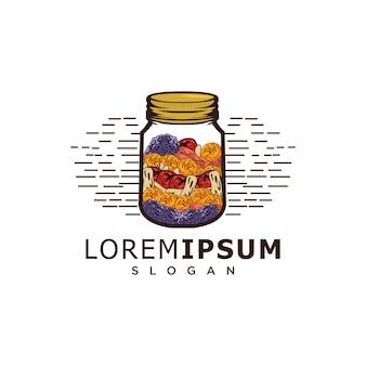 Illustrazione logo vintage di frutta secca