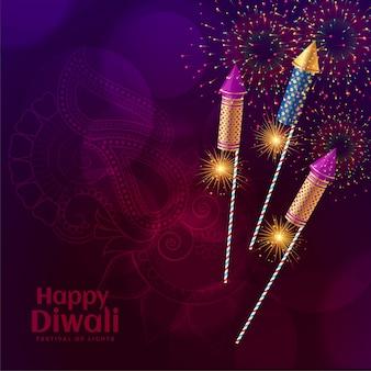 Illustrazione lucida di celebrazione del fuoco d'artificio dei cracker di diwali