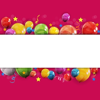 Illustrazione lucida di vettore del fondo dei palloni di buon compleanno di colore