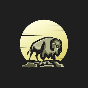 Illustrazione, luna, bisonte