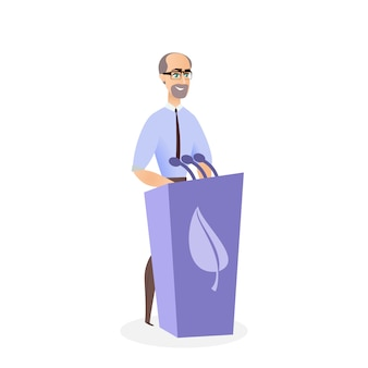 Illustrazione man giving summit ecological summit