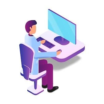 Illustrazione maschio isometrico che per mezzo del computer