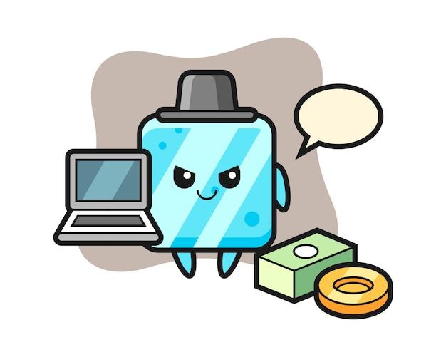 Illustrazione mascotte del cubetto di ghiaccio come hacker