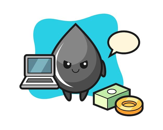 Illustrazione mascotte della goccia di petrolio come hacker