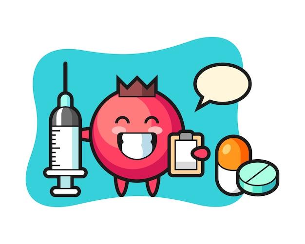 Illustrazione mascotte di mirtillo rosso come medico, stile carino, adesivo, elemento del logo