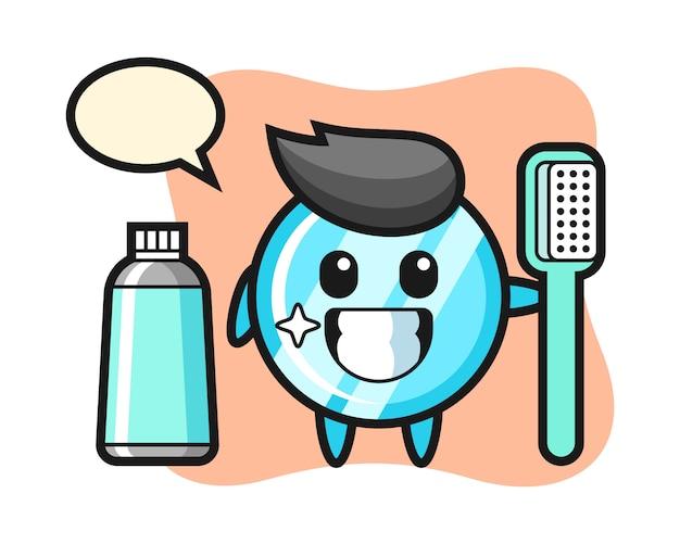 Illustrazione mascotte di specchio con uno spazzolino da denti