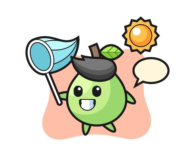 Illustrazione mascotte guava sta catturando la farfalla, stile carino per t-shirt, adesivo, elemento logo