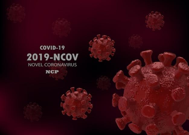 Illustrazione medica 3d di infezione covid-19 della malattia di coronavirus. cellule virali galleggianti per virus patogeno dell'influenza respiratoria della cina. pericoloso virus ncov corona asiatico, dna, pandemia rischio sfondo design
