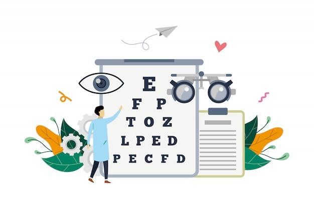 Illustrazione medica del controllo di vista dell'oftalmologo sull'illustrazione