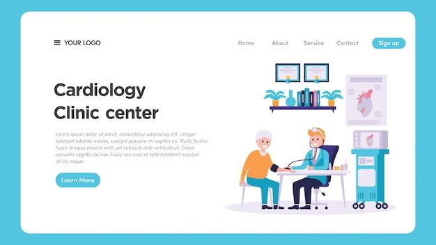 Illustrazione medica del controllo medico di cardiologia per la pagina web