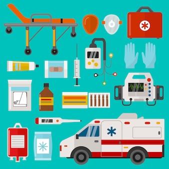 Illustrazione medica dell'ospedale di emergenza dell'ambulanza di cura messa icone