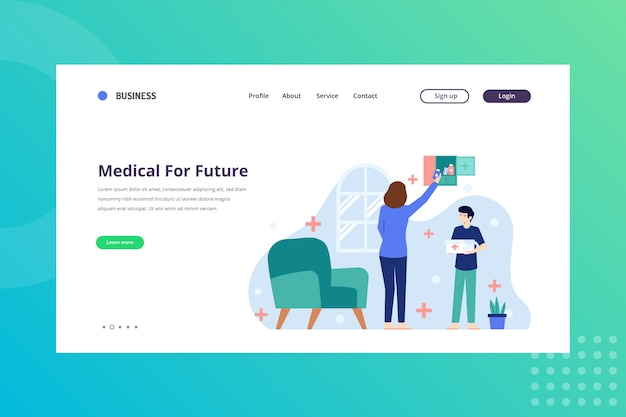 Illustrazione medica per il futuro per il concetto medico sulla pagina di destinazione