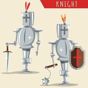 Illustrazione medievale del fumetto dell'armatura del cavaliere isolata