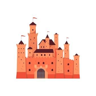 Illustrazione medievale delle torri del castello di favola di fantasia isolata su bianco.