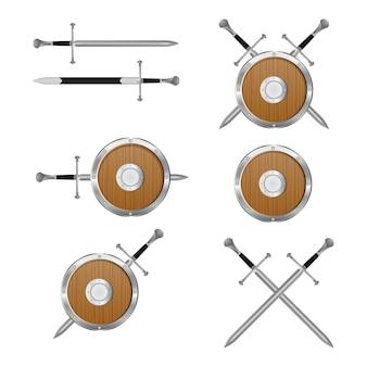 Illustrazione medievale dello scudo e della spada isolata su bianco