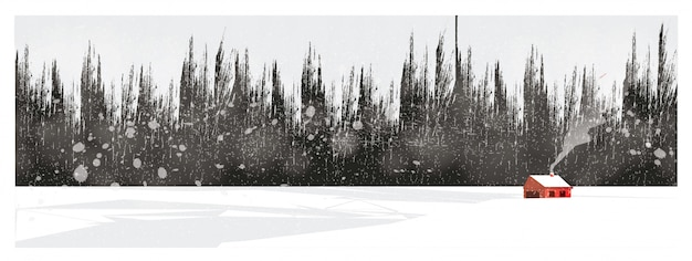 Illustrazione minima del paesaggio della campagna in inverno