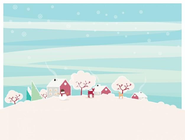 Illustrazione minima del paesaggio urbano della città in inverno.