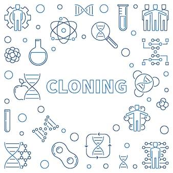 Illustrazione minima di concetto di vettore della clonazione nello stile del profilo