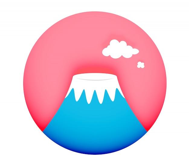 Illustrazione minima di vettore di stile di arte di carta di concetto di simbolo di fuji della montagna