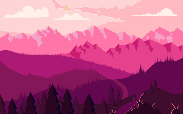 Illustrazione minimalista piana del paesaggio delle montagne