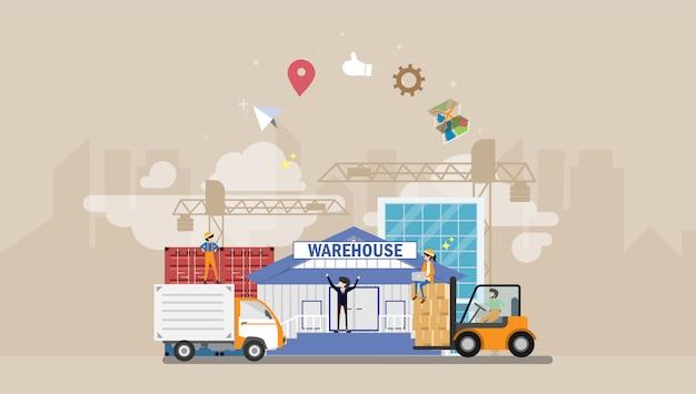 Illustrazione minuscola del carattere della gente di logistica e del magazzino
