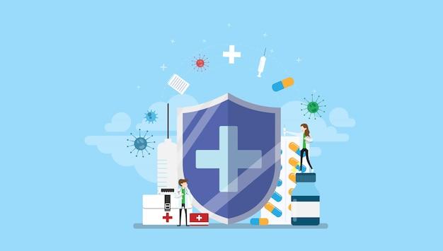 Illustrazione minuscola di vettore di concetto del carattere della gente di protezione antibiotica